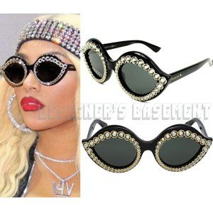 GUCCI black LIPS Crystals GG 0045S 001 sunglasses